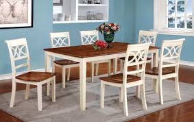 furniture of america two tone adelle 7 piece country style dining
