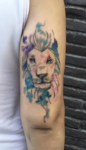 watercolor lion tattoo inkstylemag