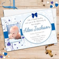Christening Card Invitations 10 Personalised Boys Christening Baptism Photo Invitations N94
