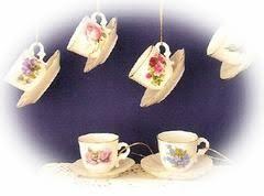 6 assorted floral porcelain tea cup ornaments tea