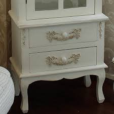 Ornate Display Cabinets Pays Blanc Range Antique White Tall Display Cabinet With Drawers