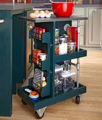 slim rolling cart for kitchen thin storage folding island on