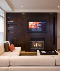 living room lcd tv mounted shelves recessed lighting red cushion