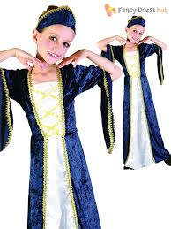 Tudor Halloween Costumes Age 4 14 Girls Medieval Royal Queen Tudor Costume Kids Fancy Dress