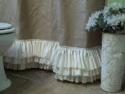 Gray Ruffle Shower Curtain Burlap Shower Curtain With Rows Of Tattered By Simplyfrenchmarket