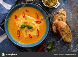 lea cuisine delicious pumpkin soup with prawns chili and basil lea