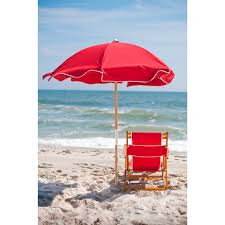 Kelsyus Premium Canopy Chair Red by Oak Wood Folding Convertible Beach Chair Lounger Logo Red