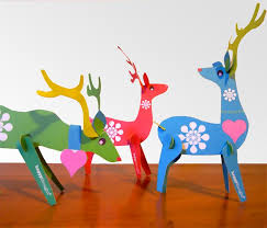 lovely festive reindeers printable paper ornament kit
