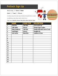 13 stylish office potluck signup sheets for your next potluck