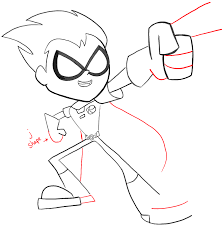 draw robin teen titans easy steps tutorial