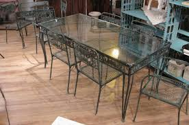 Vintage Wrought Iron Patio Table And Chairs Vintage 1950s Wrought Iron Garden Set With Two Tables And Eight