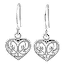 hook earrings silver decorative heart hook earrings