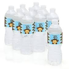 baby shower bottle favors blue monkey boy personalized party water bottle sticker labels