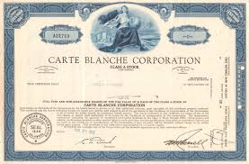carte blanche corporation stock certificate 1966 credit cards