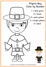 pilgrim boy colour by number thanksgiving colouring pages for