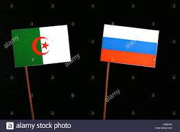 Algerian Flag Algerian Flag With Russian Flag Isolated On Black Background Stock