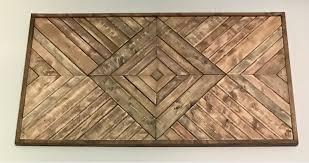 large geometric wood wall hanging