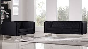 Sofa Set Table Modern Black Leatherette 2 Piece Easton Sofa Set With Stainless