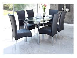 Cheap Dining Room Chairs Set Of 4 by Black Glass Dining Table And 6 Chairs Ciov