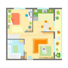Floor Plans With Furniture Apartment Floor Plan With Furniture Top View Vector Stock Vector