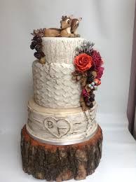 autumn woodland birch tree wedding cake deer bambi cake topper on
