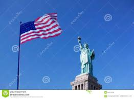 Flag Of New York City Statue Of Liberty And The Us Flag New York City New York Usa
