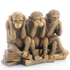3 wise monkeys bronze statue no evil 28cm figurine ornament see