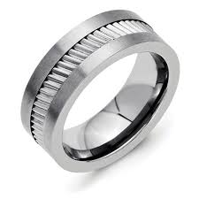 gear wedding ring ring styles 8mm brushed and polished finish flat pipe cut