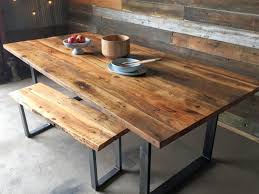 reclaimed wood table with metal legs industrial modern dining table u shaped metal legs reclaimed
