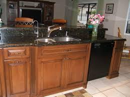 Ceramic Backsplash Tiles Blue Kitchen With Black Appliances Beige Bevel Stone Tile