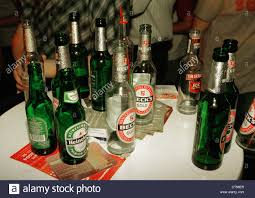 drink table bar berlin empty beer bottles on a bar table stock photo royalty