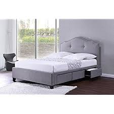 amazon com dhp cambridge upholstered bed with storage in grey