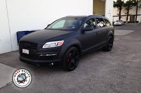 audi q7 wrapped in 3m matte black car wrap wrap bullys