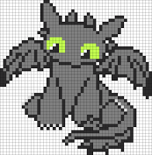 cutie how to train your dragon toothless perler bead pattern