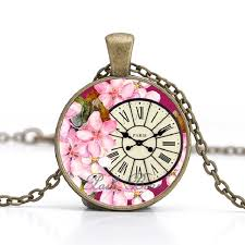 jewelry party favors clocks vintage necklace flowers time 25mm glass cabochon