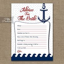 Advice Cards For Bride Bridal Shower Advice Cards Nautical Advice For The Bride