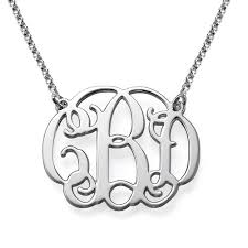 3 initial monogram necklace sterling silver monogram necklace in sterling silver mynamenecklace