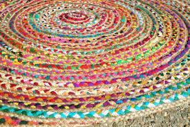 Rag Area Rug Rag Rug Boho Chic Hippie Area Rug 4 Circle Colorful Jute