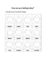 english worksheets feelings on blank faces