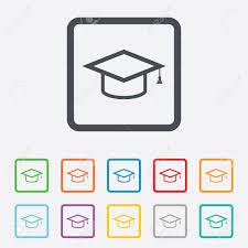 graduation cap frame graduation cap sign icon higher education symbol squares
