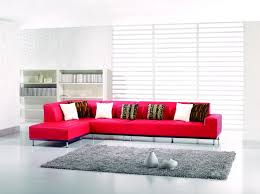 3 pieces modern red leather match sectional sofa with left chaise