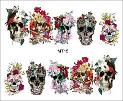 aliexpress com buy 1 sheet nail mt15 cover flower crown skull