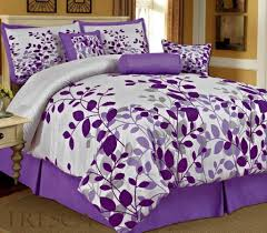 bedroom adorable purple and white queen bedding sets with leaves