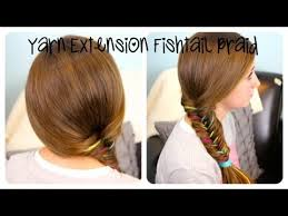 hair style with color yarn yarn extension fishtail braid color highlights cute girls