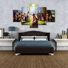 Christian Home Decor Jesus Christ U0026 Children Painting Wall Art Canvas 5 Pc Print