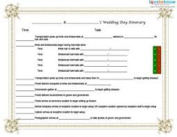 Wedding Itinerary Template For A Wedding Day Itinerary