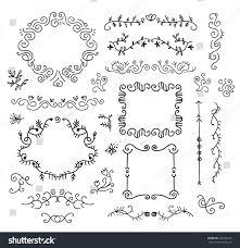 vector floral decor set hand drawn stock vector 250725418