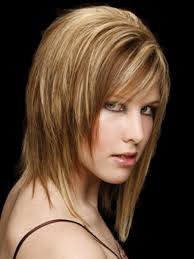 short to medium length hair with bangs