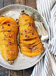 vegetarian thanksgiving entrees maple pecan hasselback butternut squash recipe christmas side