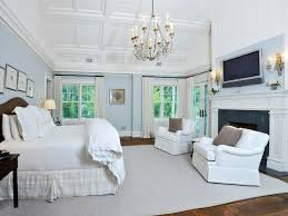 Beach House Style Cottage Master Bedroom With Box Ceiling Crown Molding Beach House